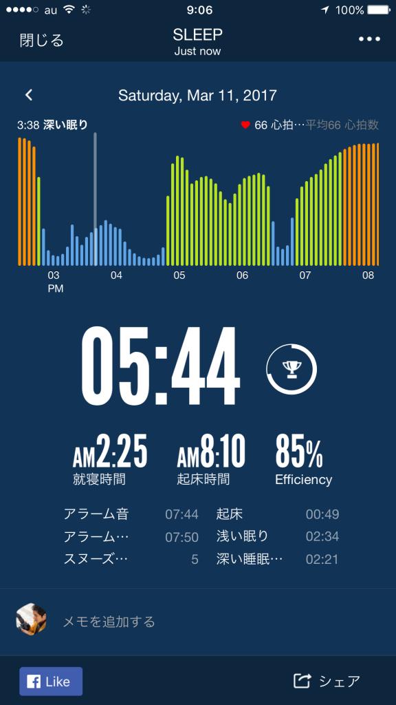 2017/3/11睡眠ログ